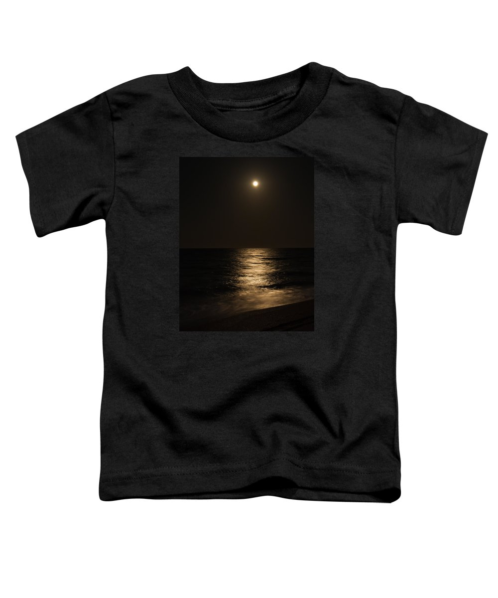 St Augustine Toddler T-Shirt featuring the photograph Moon Over Water by John M Bailey
