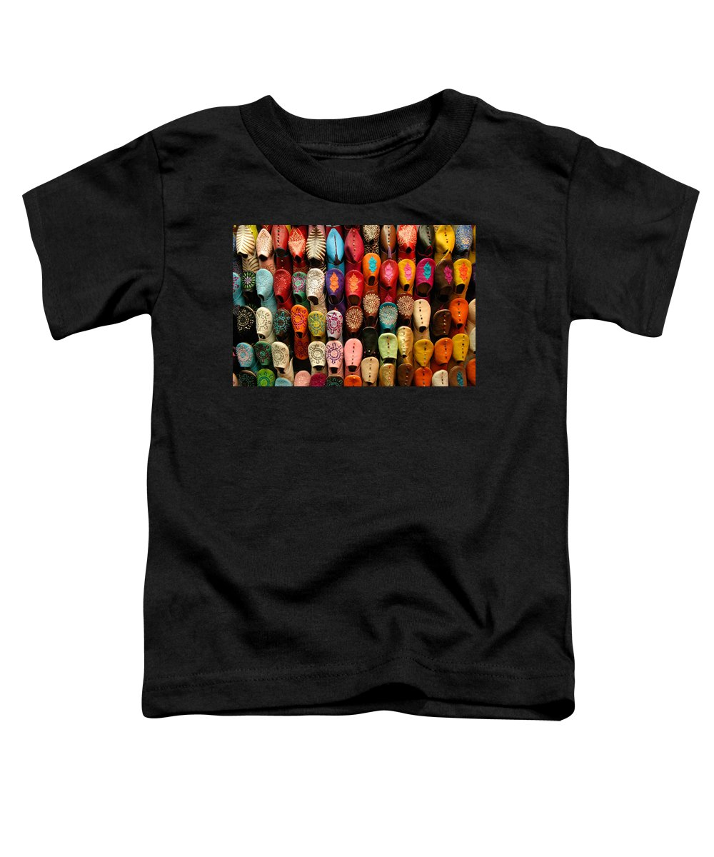 Babouches Toddler T-Shirt featuring the photograph Moroccan Babouches Old Medina Marrakesh Morocco by Ralph A Ledergerber-Photography