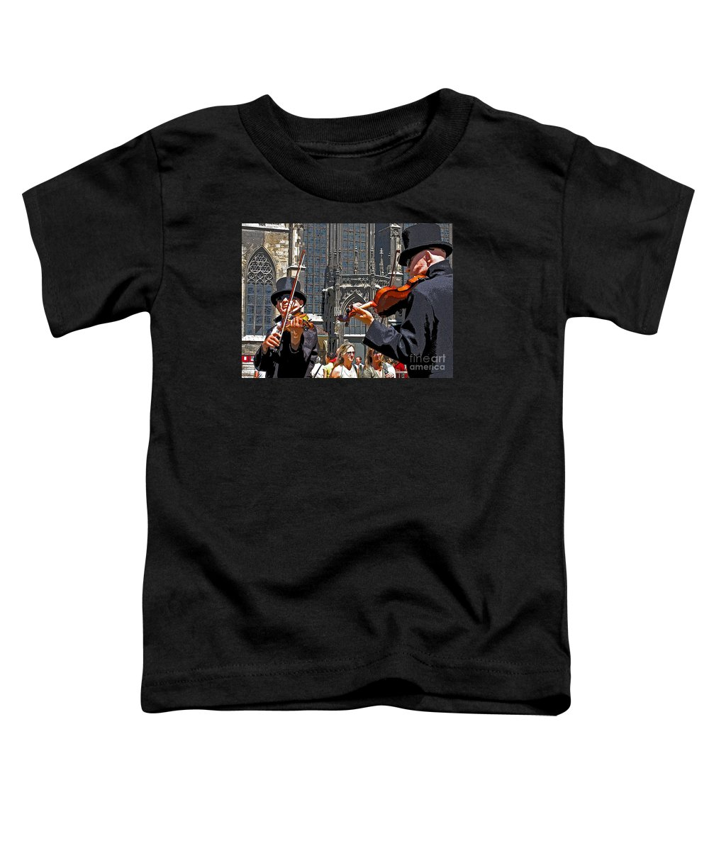 Buskers Toddler T-Shirt featuring the photograph Mozart In Masquerade by Ann Horn