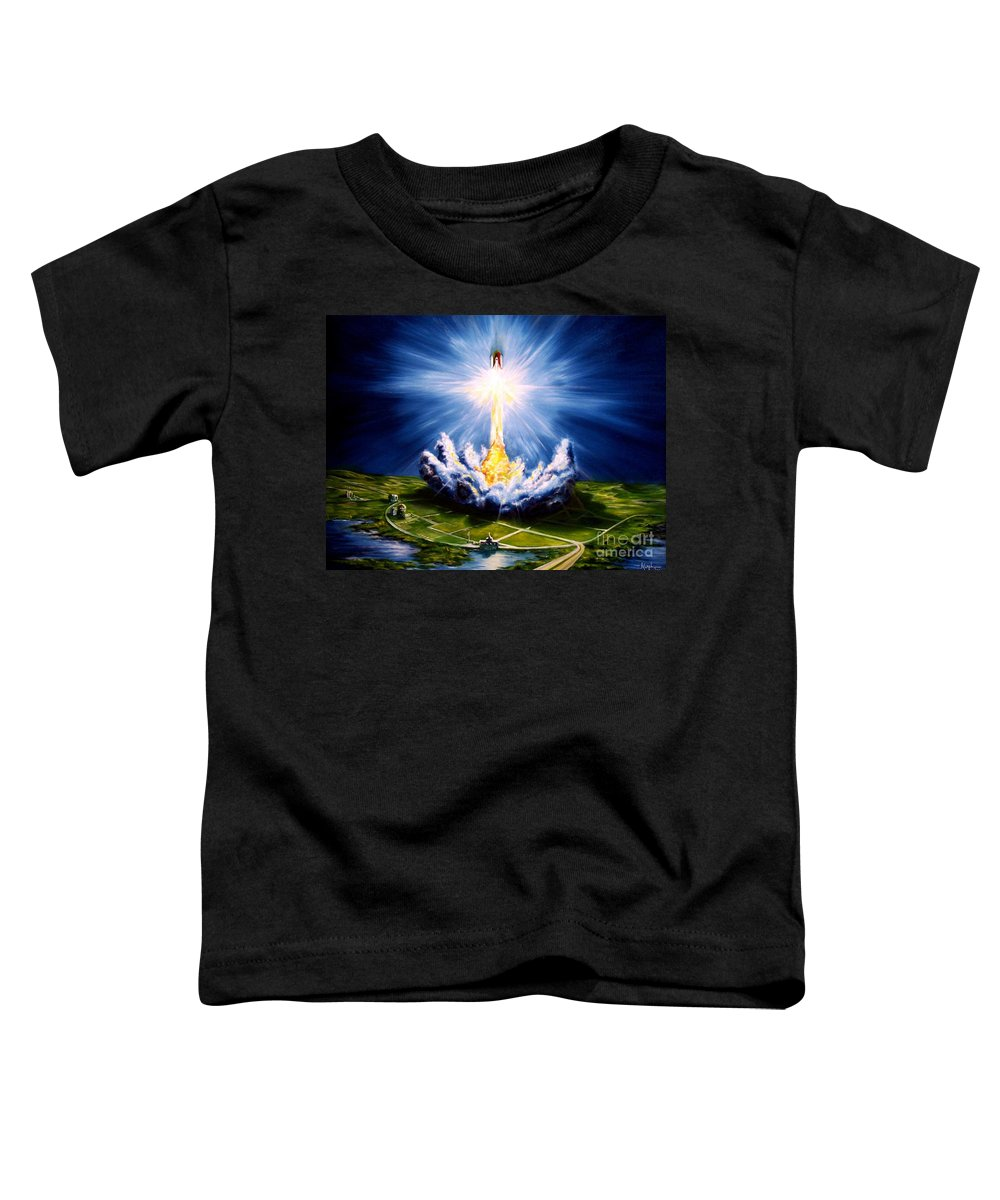 Landscape Toddler T-Shirt featuring the painting Night At The Cape by Murphy Elliott