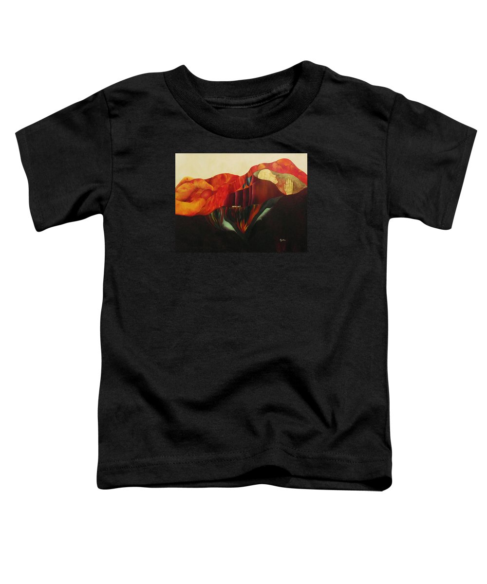Oil Toddler T-Shirt featuring the painting On The Road To Enlightenment by Peggy Guichu