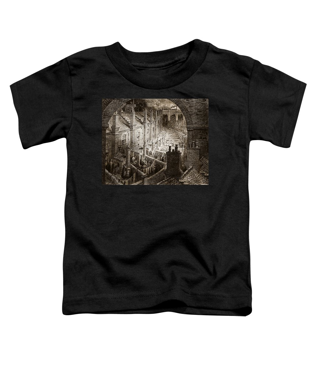 Train Toddler T-Shirt featuring the drawing Over London by Gustave Dore