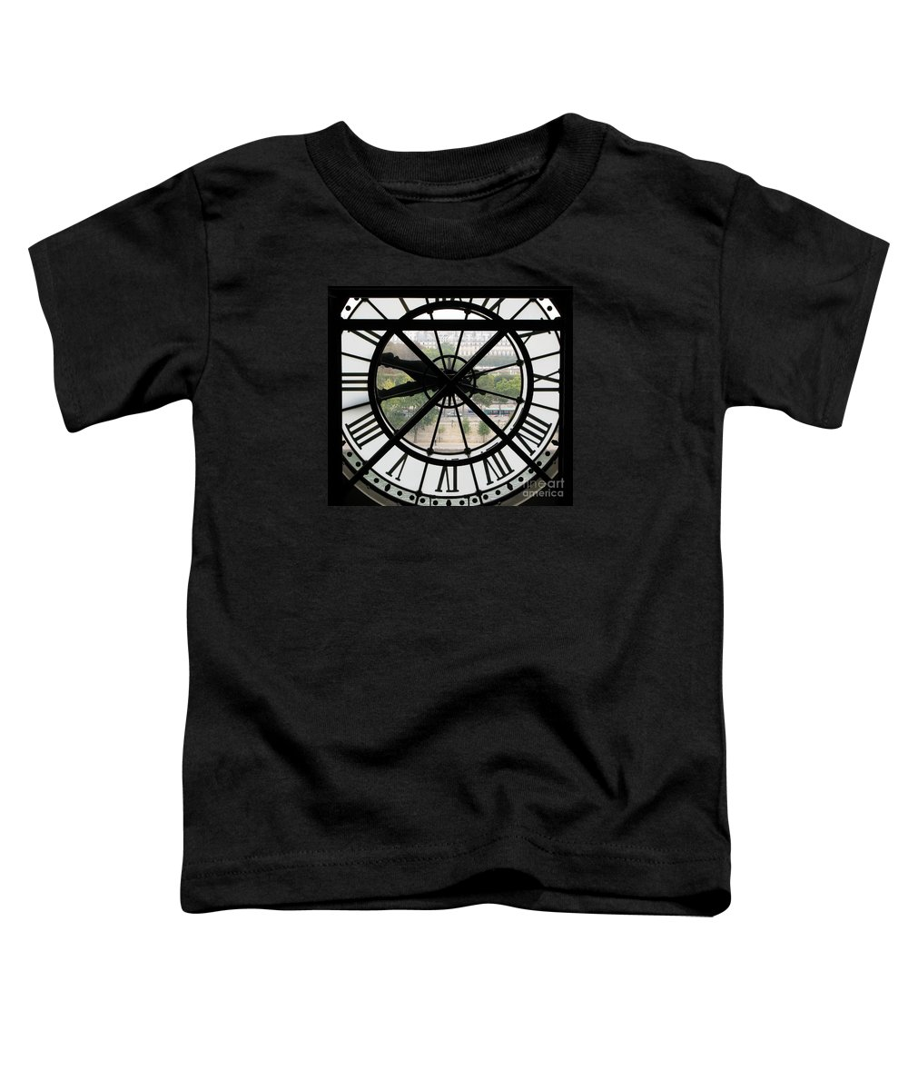 Clock Toddler T-Shirt featuring the photograph Paris Time by Ann Horn