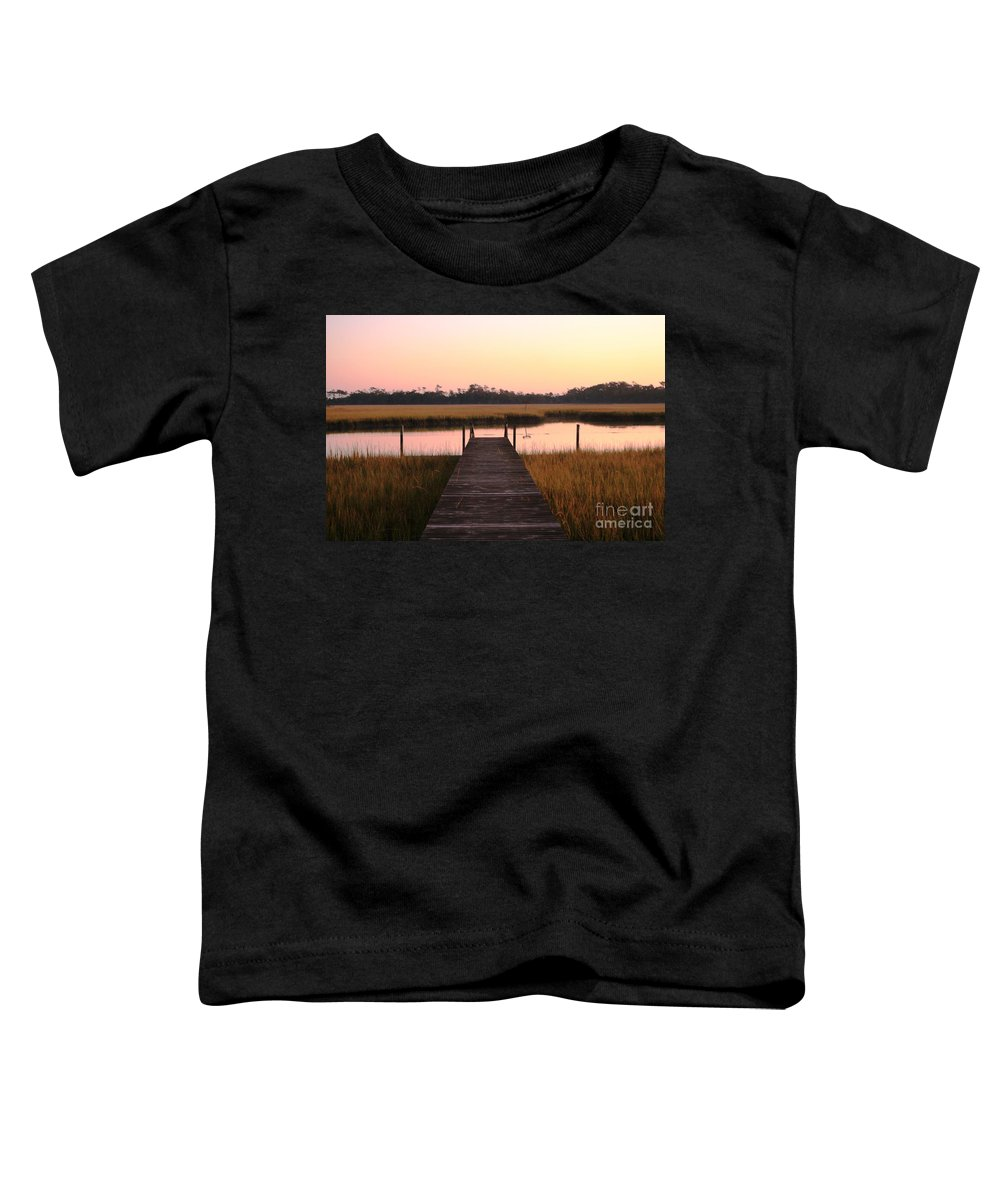 Pink Toddler T-Shirt featuring the photograph Pink And Orange Morning On The Marsh by Nadine Rippelmeyer