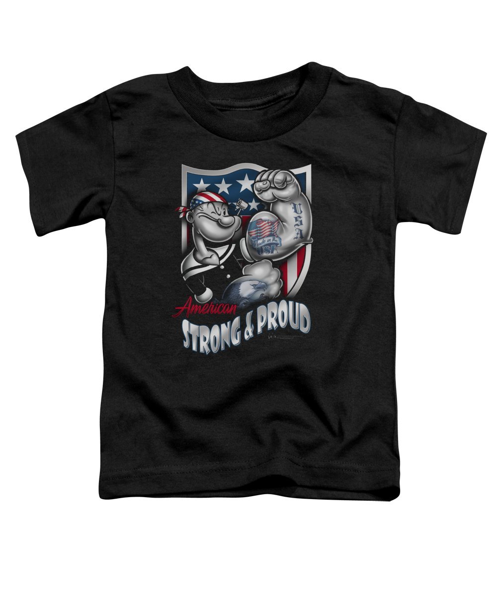 Popeye Toddler T-Shirt featuring the digital art Popeye - Strong And Proud by Brand A