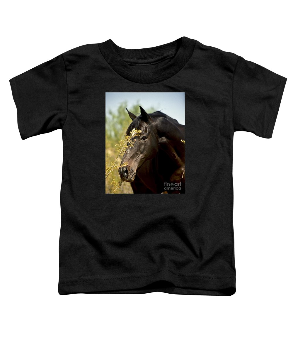 Horse Toddler T-Shirt featuring the photograph Portrait Of A Thoroughbred by Kathy McClure