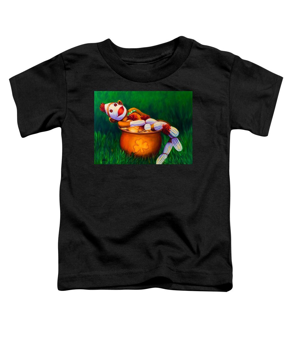 St. Patrick's Day Toddler T-Shirt featuring the painting Pot O Gold by Shannon Grissom