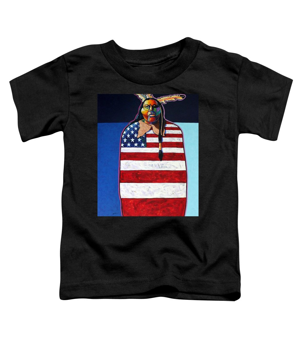 Native American Wrapped In Us Flag Toddler T-Shirt featuring the painting Poverty Still Cracks The Whip by Joe Triano