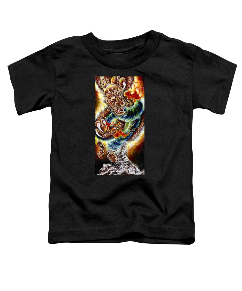 Caving Toddler T-Shirt featuring the painting Power Of Spirit by Hiroko Sakai