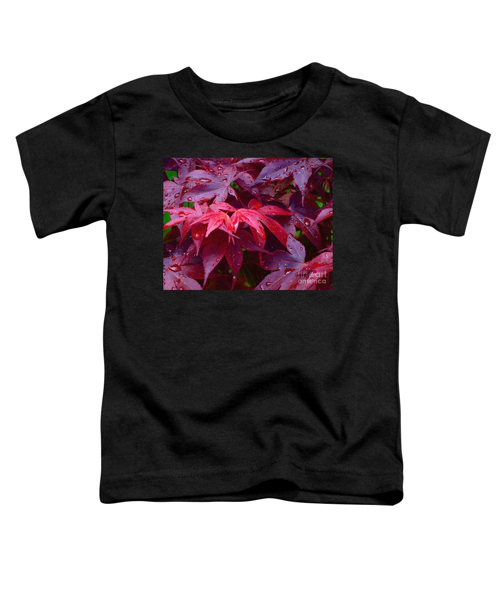 Rain Toddler T-Shirt featuring the photograph Red Maple After Rain by Ann Horn