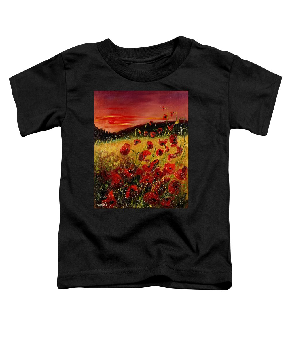 Poppies Toddler T-Shirt featuring the painting Red Poppies And Sunset by Pol Ledent