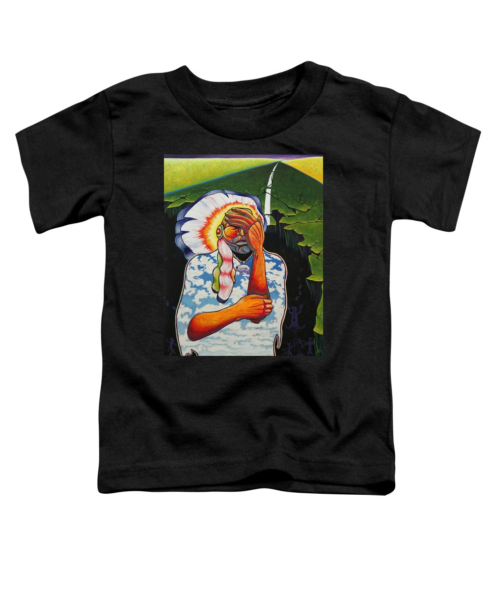 American Indian Toddler T-Shirt featuring the painting Release Me by Joe Triano