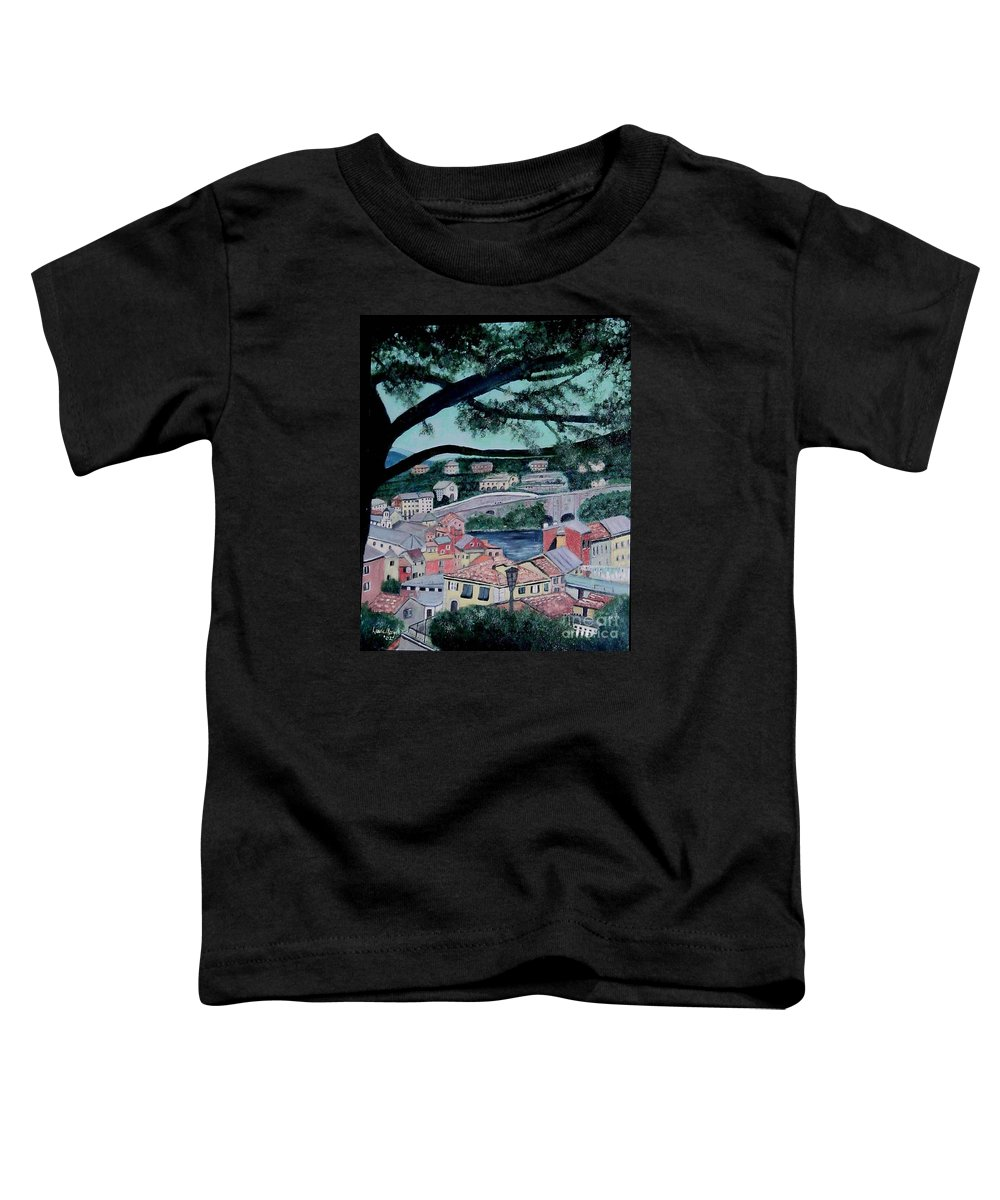 Italy Toddler T-Shirt featuring the painting Sestri Levante by Laurie Morgan