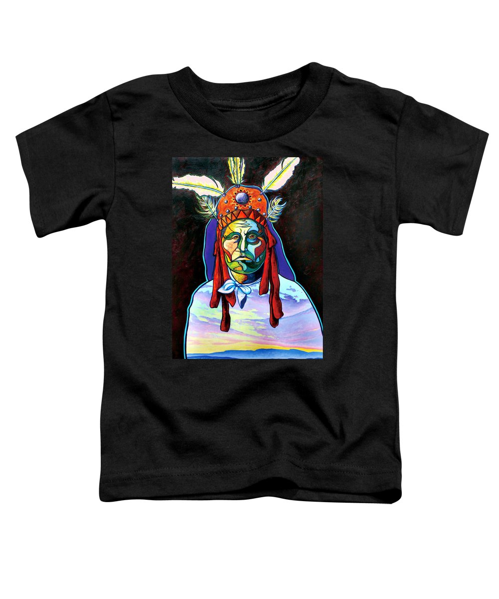 American Indian Toddler T-Shirt featuring the painting Shamans Power by Joe Triano
