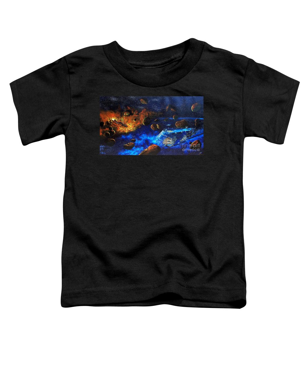 Future Toddler T-Shirt featuring the painting Spaceship Titanic by Murphy Elliott