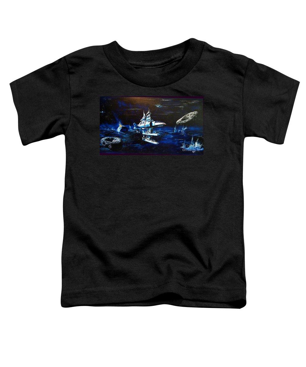 Alien Toddler T-Shirt featuring the painting Stellar Cruiser by Murphy Elliott
