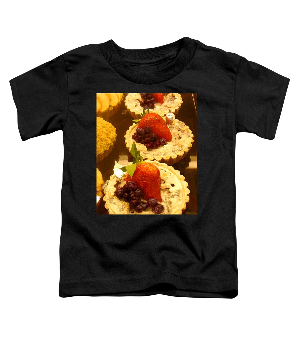 Food Toddler T-Shirt featuring the painting Strawberry Blueberry Tarts by Amy Vangsgard