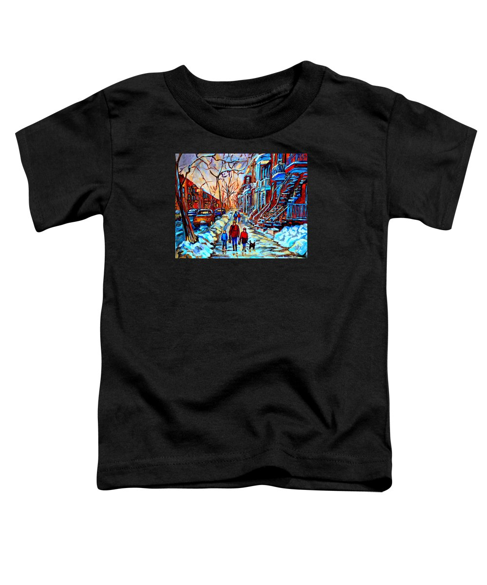 Montreal Toddler T-Shirt featuring the painting Streets Of Montreal by Carole Spandau