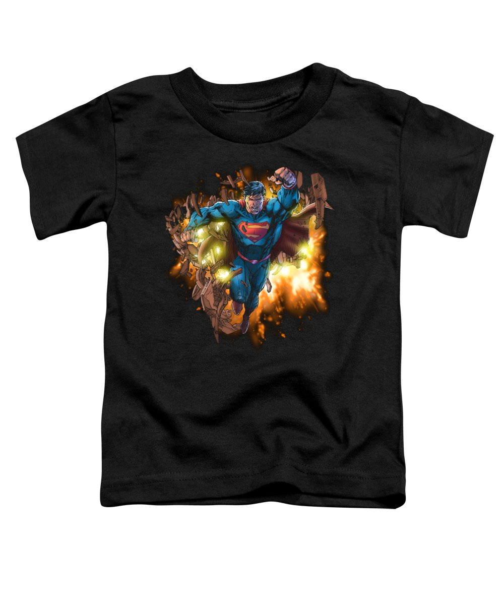 Toddler T-Shirt featuring the digital art Superman - Blasting Through by Brand A