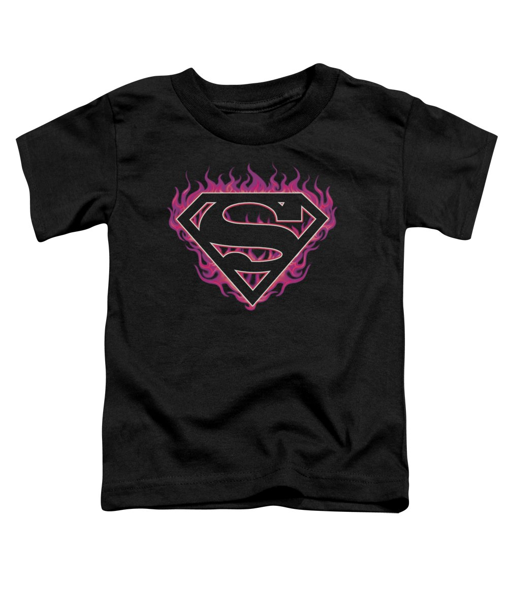 Superman Toddler T-Shirt featuring the digital art Superman - Fuchsia Flames by Brand A
