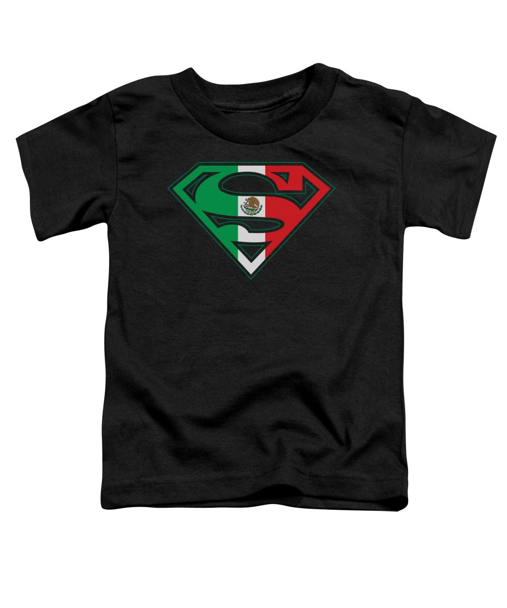 Superman Toddler T-Shirt featuring the digital art Superman - Mexican Flag Shield by Brand A