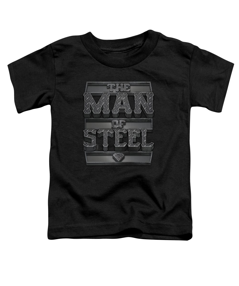 Superman Toddler T-Shirt featuring the digital art Superman - Steel Text by Brand A