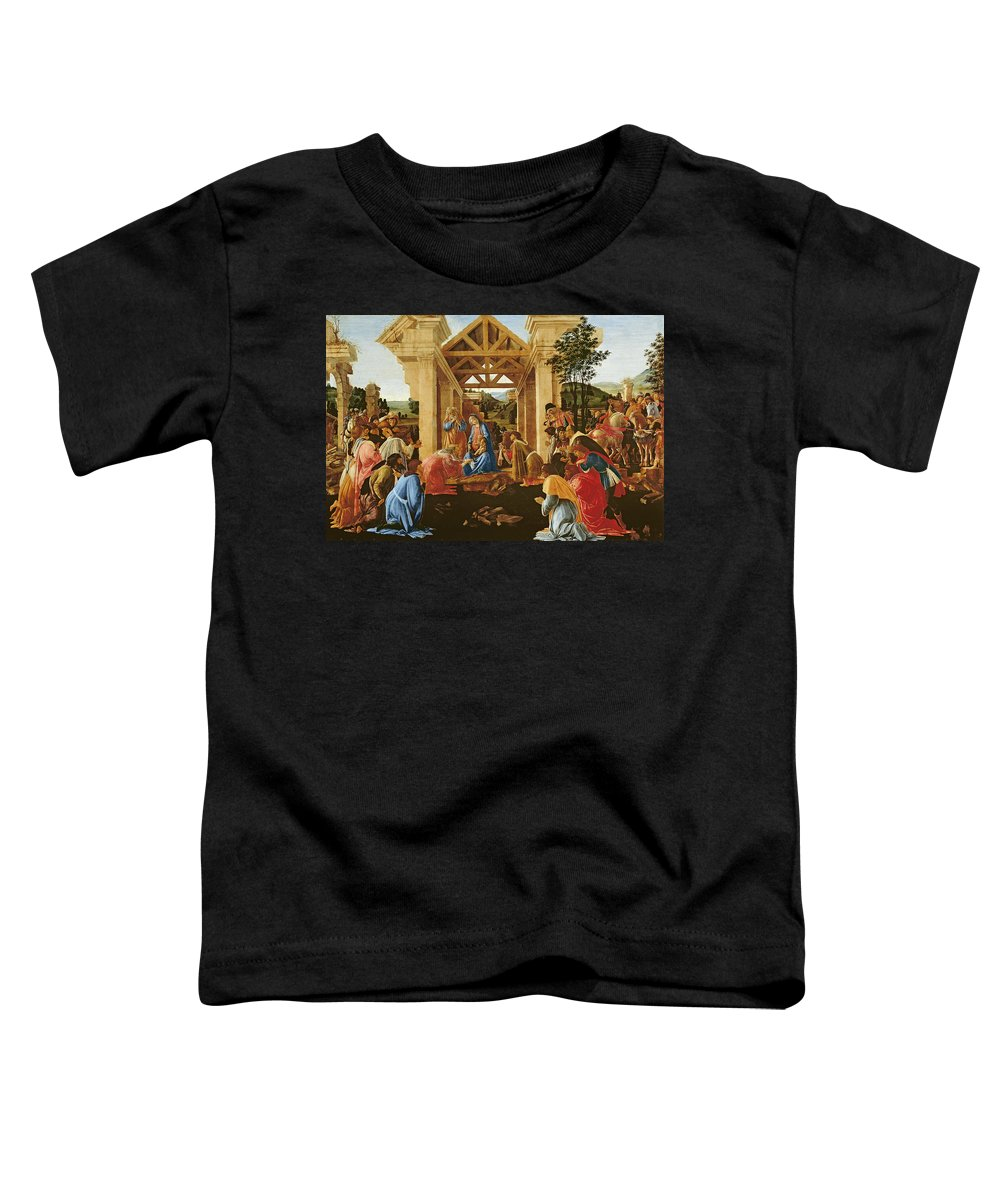 Nativity Toddler T-Shirt featuring the painting The Adoration Of The Magi by Sandro Botticelli