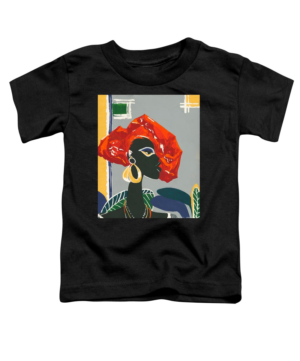 Black Toddler T-Shirt featuring the painting The Ambassador by Elisabeta Hermann
