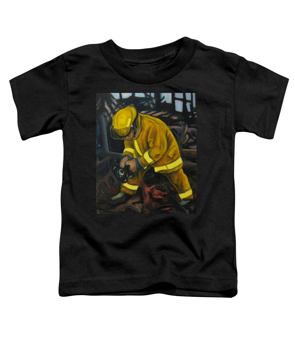 The Compulsion Towards Heroism Toddler T-Shirt featuring the painting The Compulsion Towards Heroism by John Malone