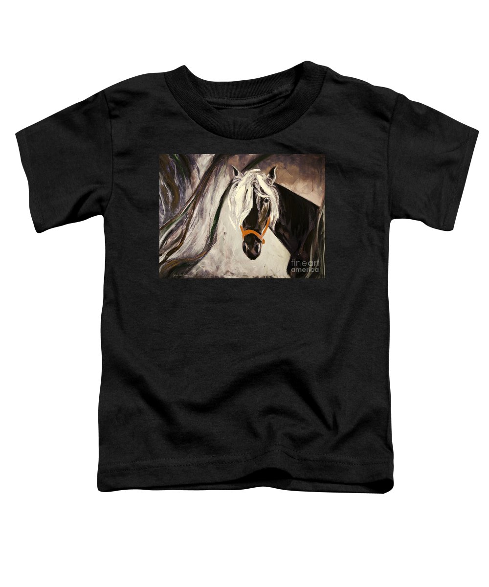 Horses Toddler T-Shirt featuring the painting The Performer by Gina De Gorna