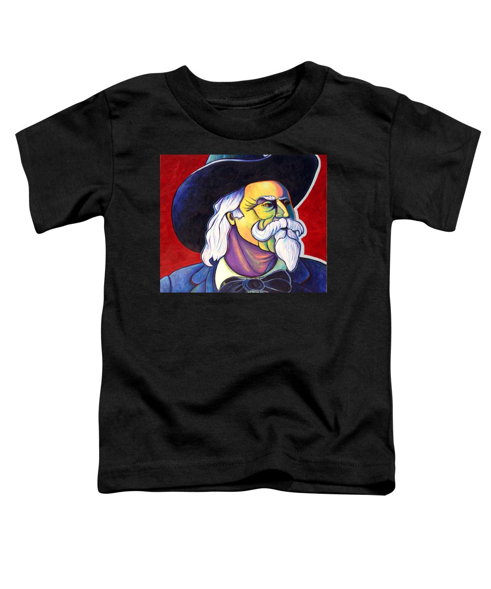 Western Hero Toddler T-Shirt featuring the painting The Plainsmen - Buffalo Bill Cody by Joe Triano