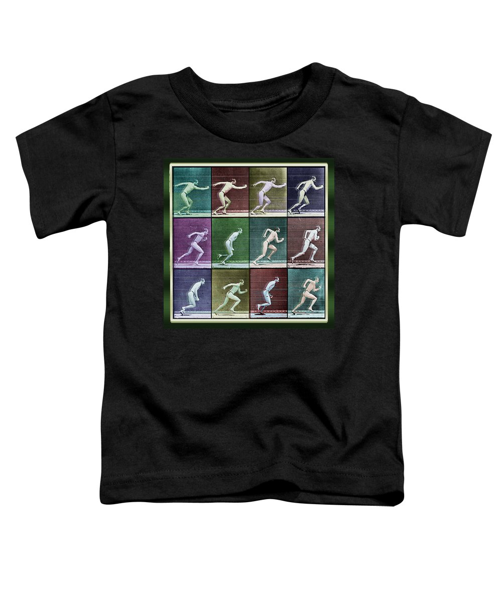 Man Toddler T-Shirt featuring the painting Time Lapse Motion Study Man Running Color by Tony Rubino