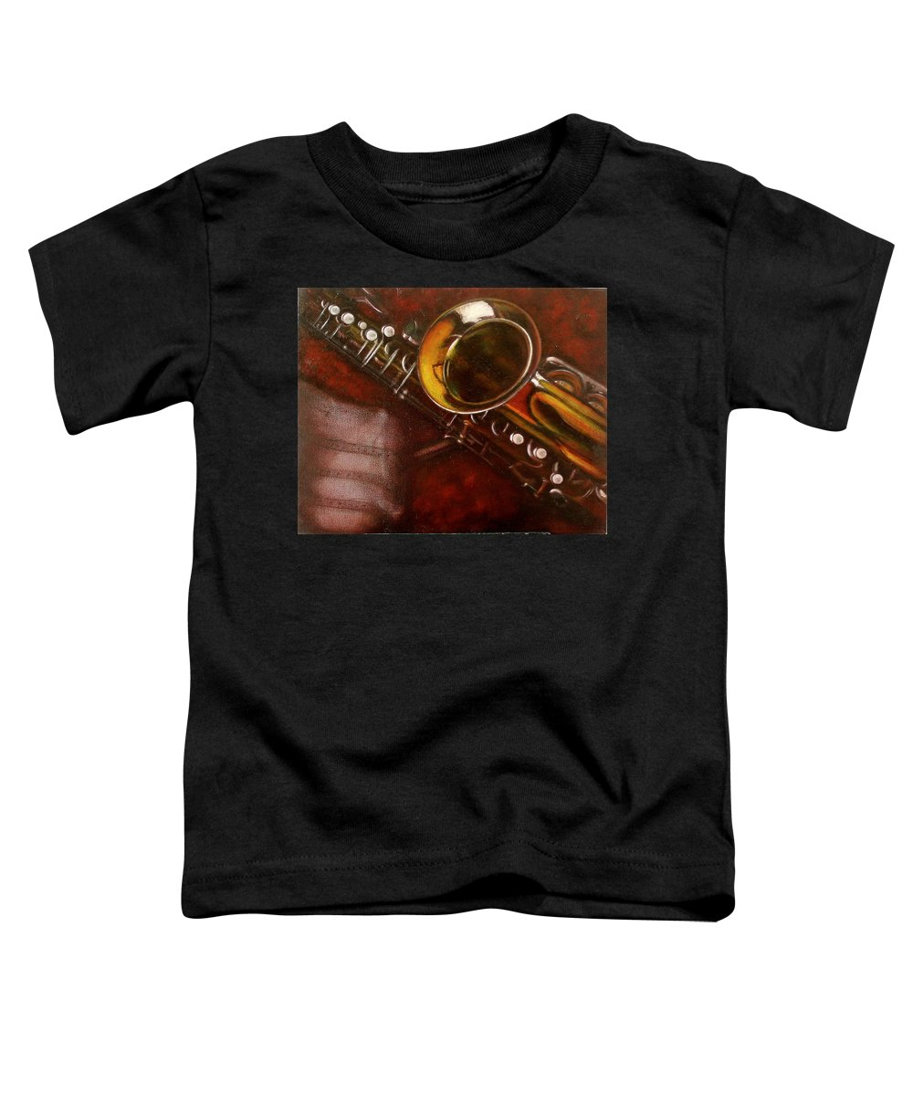 Still Life Toddler T-Shirt featuring the painting Unprotected Sax by Sean Connolly