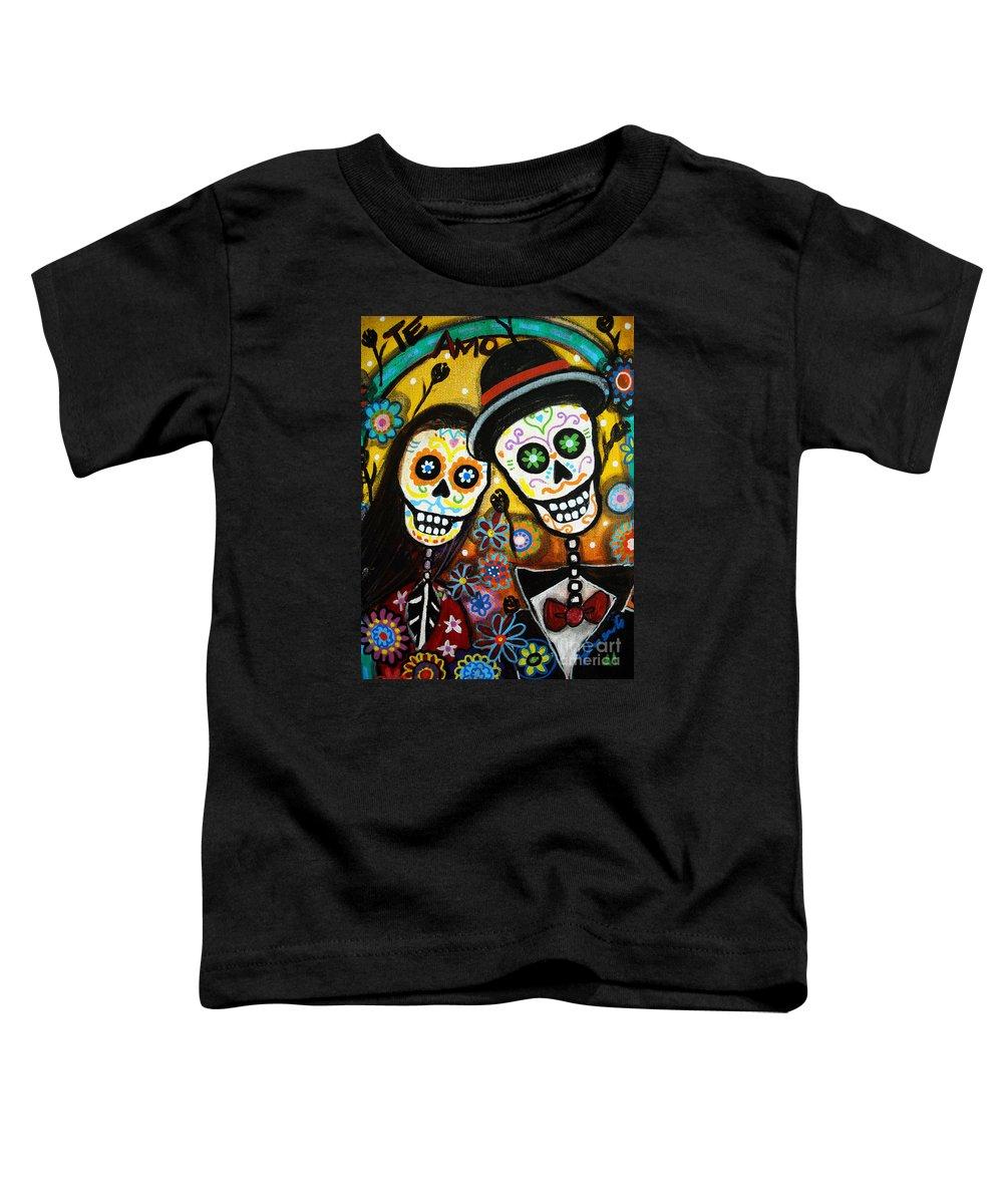 Dia Toddler T-Shirt featuring the painting Wedding Dia De Los Muertos by Pristine Cartera Turkus