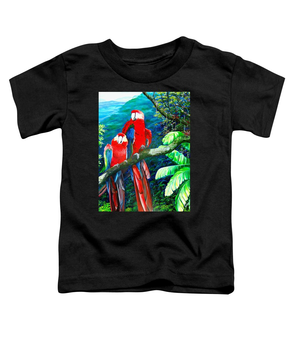 Caribbean Painting Green Wing Macaws Red Mountains Birds Trinidad And Tobago Birds Parrots Macaw Paintings Greeting Card  Toddler T-Shirt featuring the painting Who Me  by Karin Dawn Kelshall- Best
