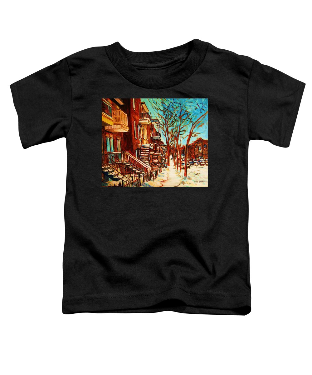 Verdun Paintings By Montreal Street Scene Artist Carole Spandau Toddler T-Shirt featuring the painting Winter Staircase by Carole Spandau