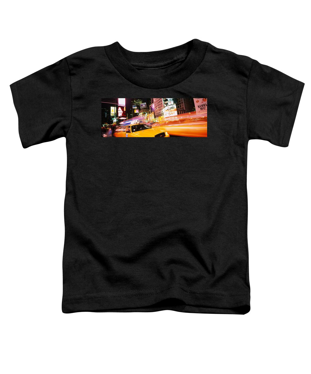 Photography Toddler T-Shirt featuring the photograph Yellow Taxi On The Road, Times Square by Panoramic Images