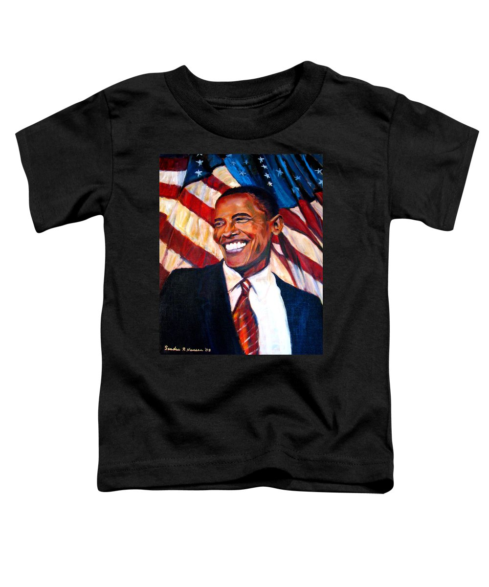 Barack Toddler T-Shirt featuring the painting Yes We Can by Art Nomad Sandra Hansen