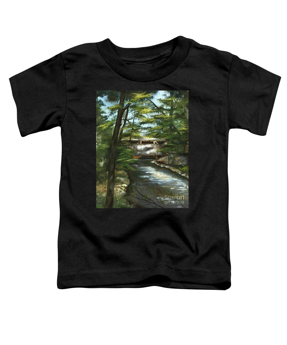 Covered Bridge Toddler T-Shirt featuring the painting A Summer Walk Along The Creek by Nancy Patterson