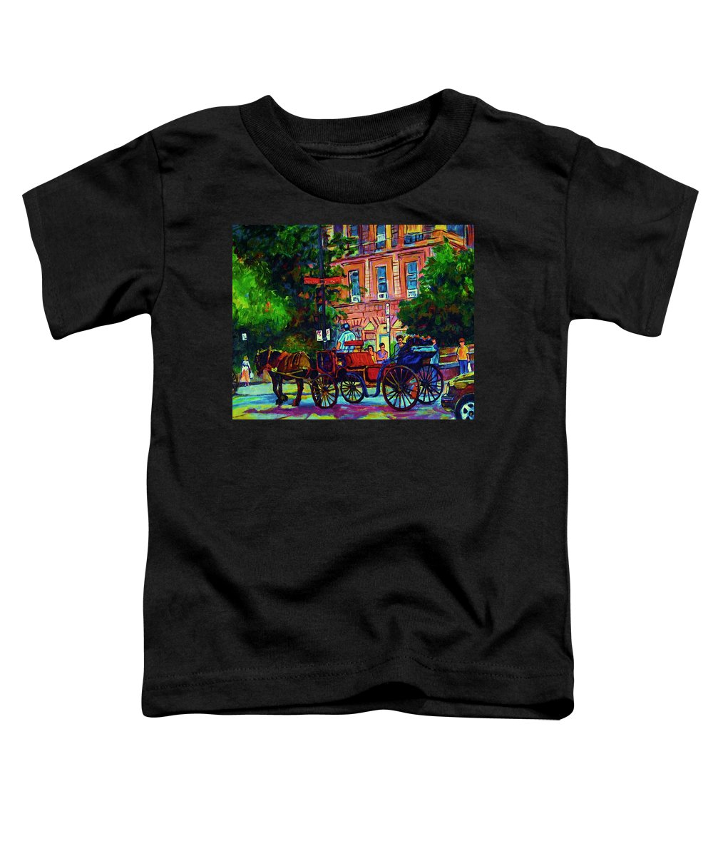 Rue Notre Dame Toddler T-Shirt featuring the painting Horsedrawn Carriage by Carole Spandau