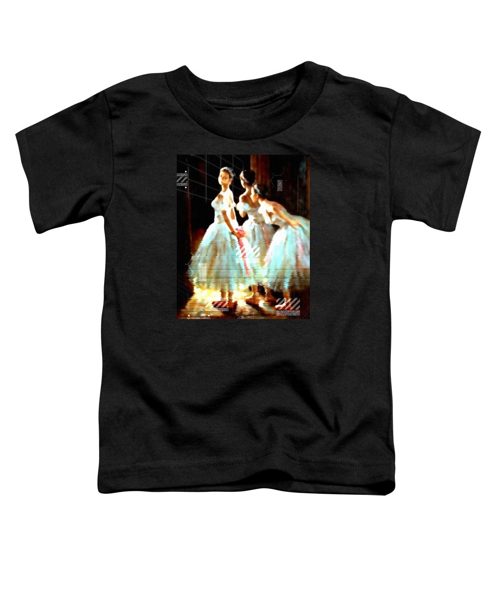 Ballet Toddler T-Shirt featuring the mixed media Impressions Of Modern Ballet by Georgiana Romanovna