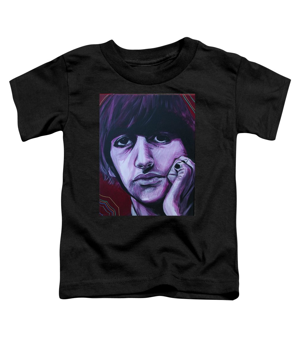 Beatles Toddler T-Shirt featuring the painting Ringo Star by Kate Fortin