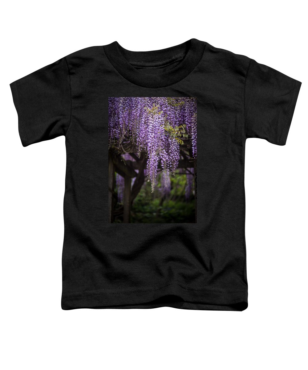 Wisteria Toddler T-Shirt featuring the photograph Wisteria Droplets by Mike Reid