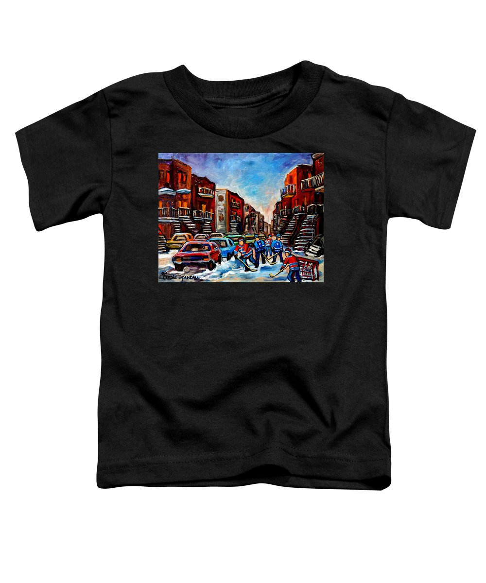 Montreal Toddler T-Shirt featuring the painting Late Afternoon Street Hockey by Carole Spandau