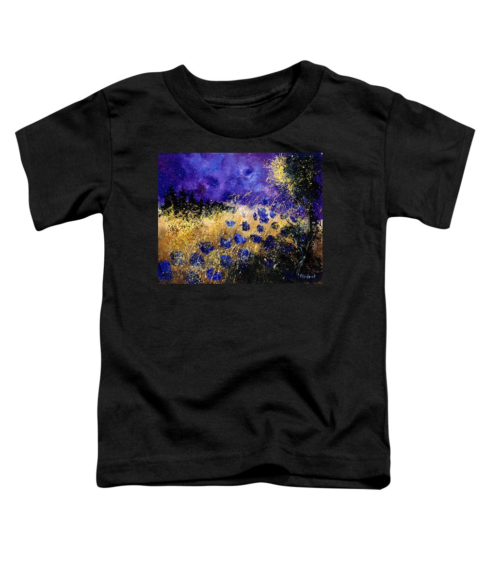 Poppies Toddler T-Shirt featuring the painting Blue Cornflowers by Pol Ledent