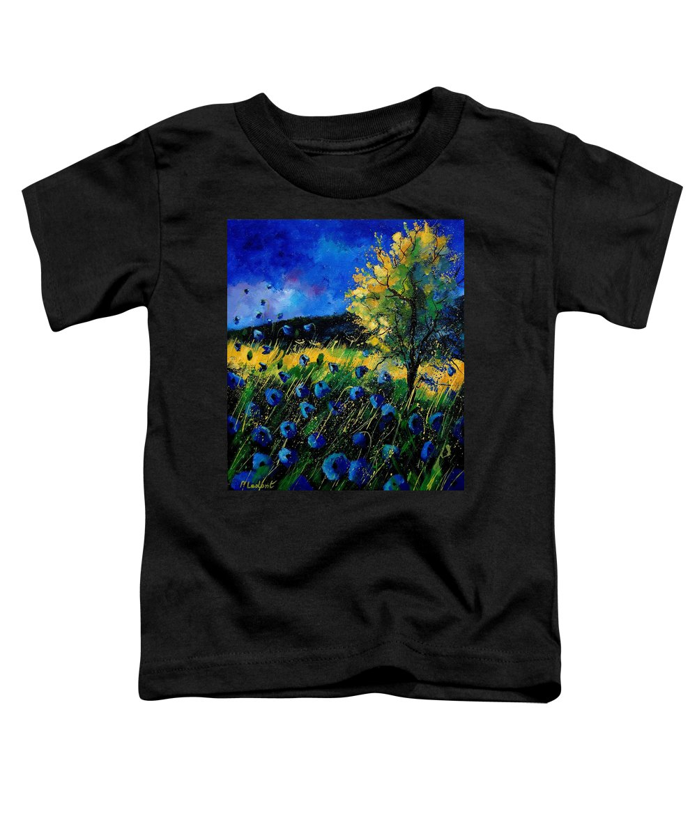 Poppies Toddler T-Shirt featuring the painting Blue Poppies by Pol Ledent