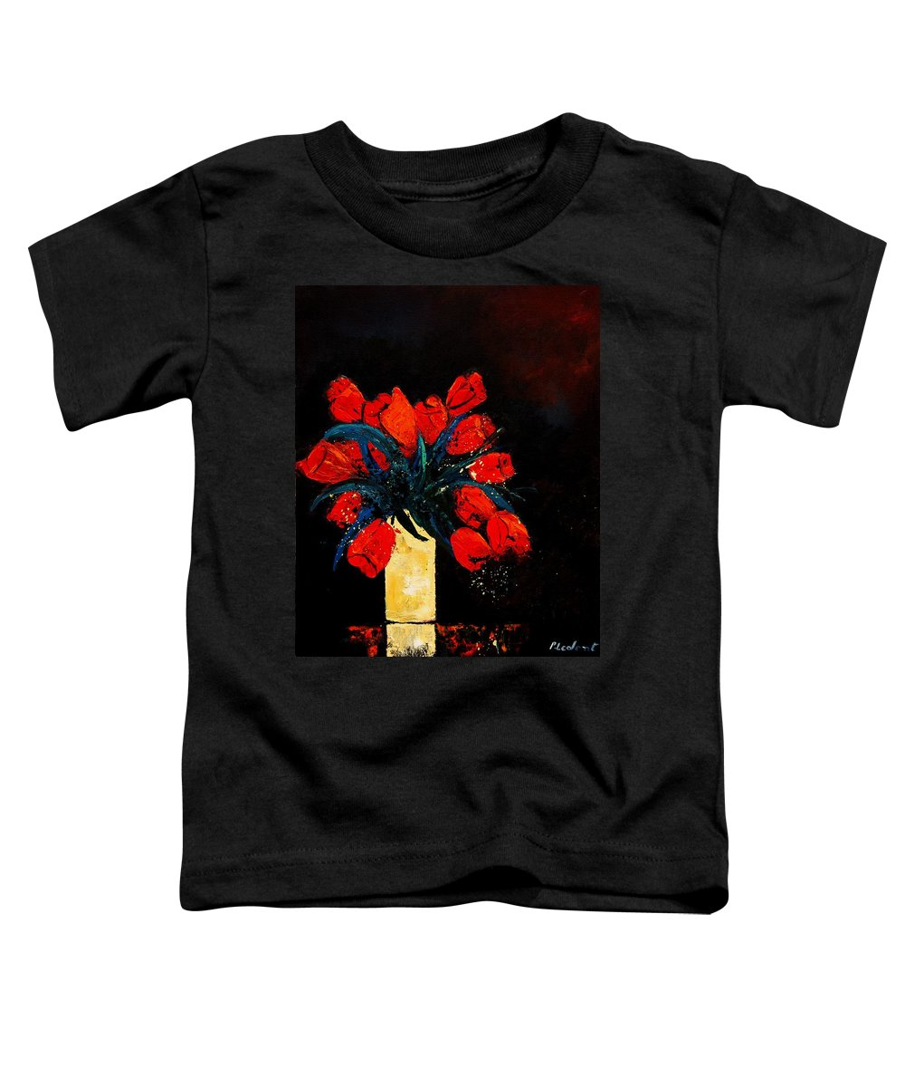 Flowers Toddler T-Shirt featuring the painting Red Tulips by Pol Ledent