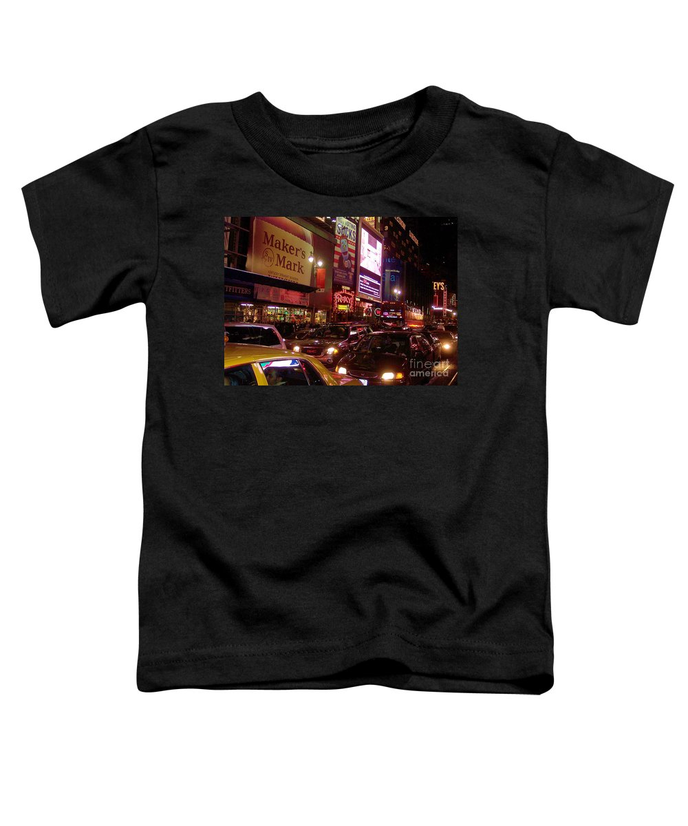 New York Toddler T-Shirt featuring the photograph Times Square Night by Debbi Granruth