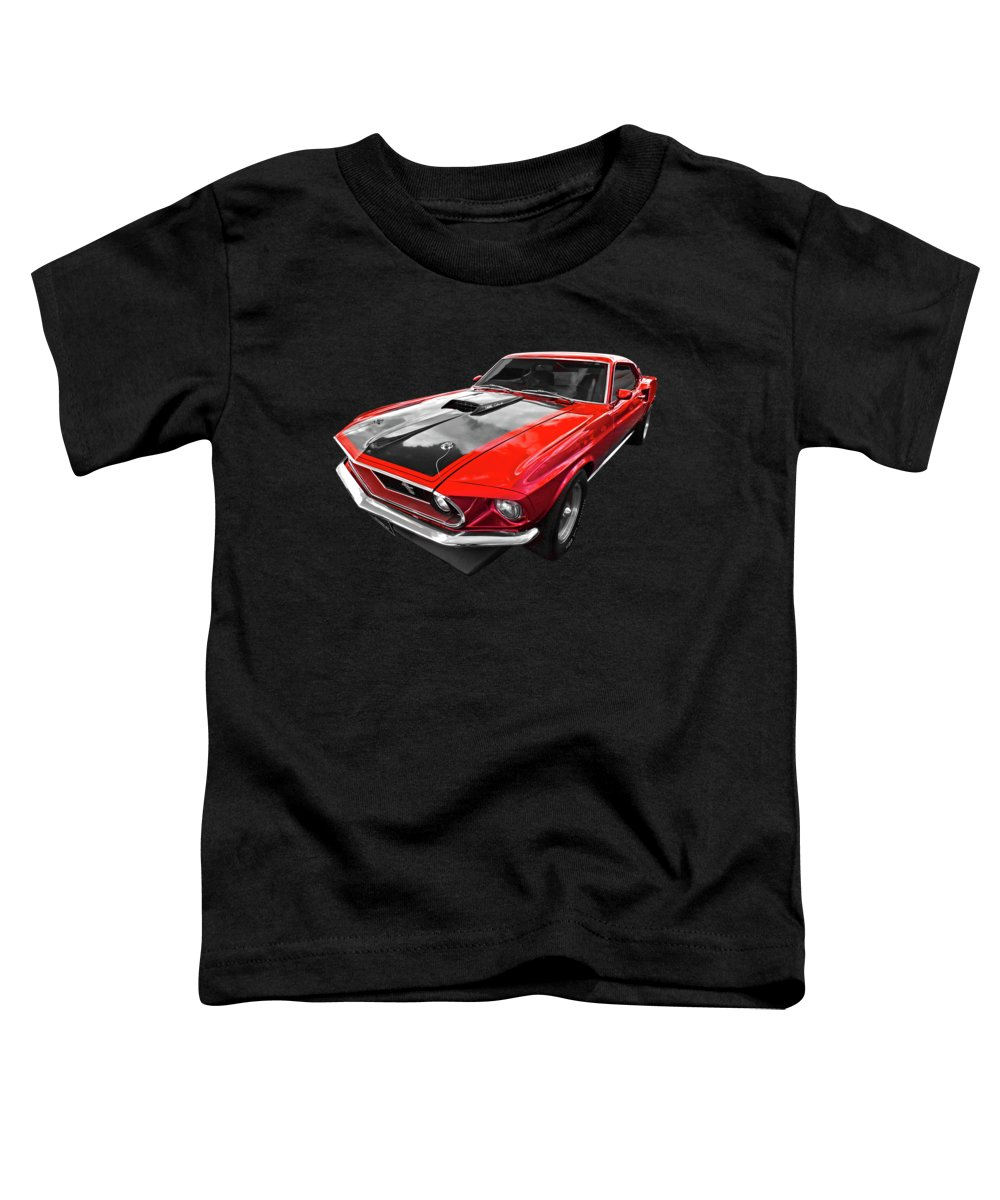 Classic Mustang Toddler T-Shirt featuring the photograph 1969 Red 428 Mach 1 Cobra Jet Mustang by Gill Billington