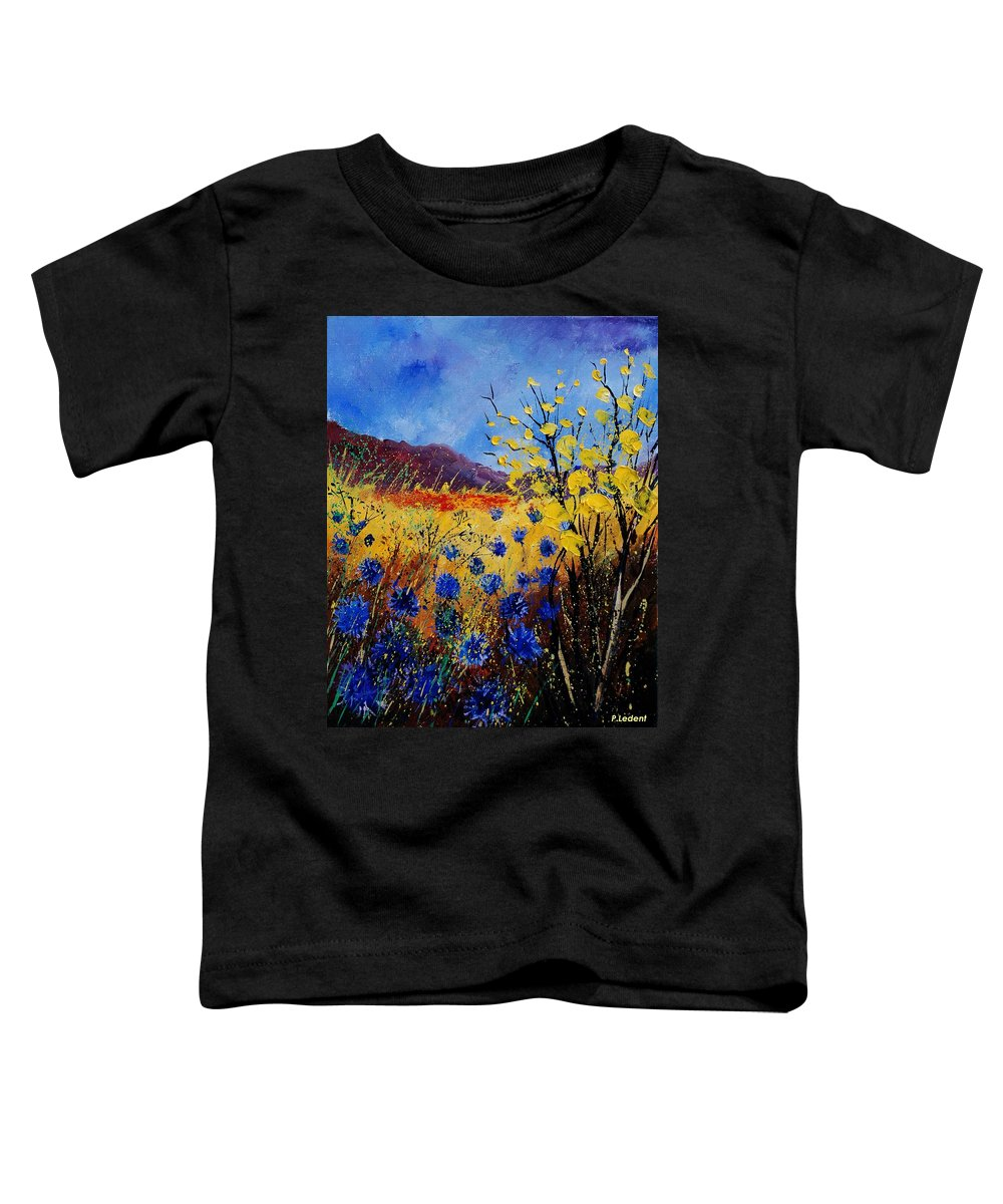 Poppies Flowers Floral Toddler T-Shirt featuring the painting Blue Cornflowers by Pol Ledent